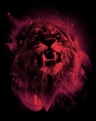 Artwork of roaring lion - head shot