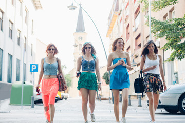 Girls walking the town streets