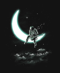 Illustration of astronaut playing a guitar on the moon