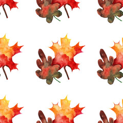 Seamless pattern with mapple and oak leaves