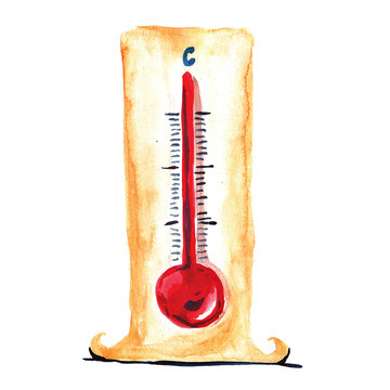 Watercolor image of thermometer