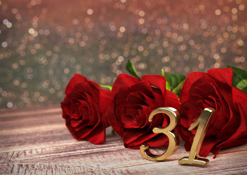 birthday concept with red roses on wooden desk. thirty-first . 31st. 3D render