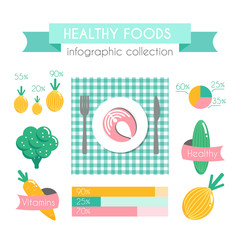 Healthy Food Vector Infographic.