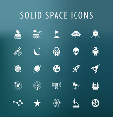 Set of 25 Universal Space Icons. Isolated Elements.