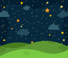 Cute Vector Nighttime Landscape with Rolling Hills, Stars and Clouds