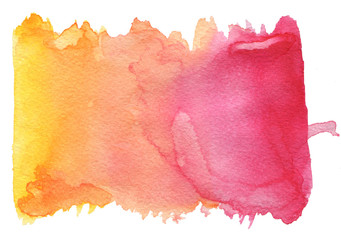 Pink-orange watercolor texture on a white background
