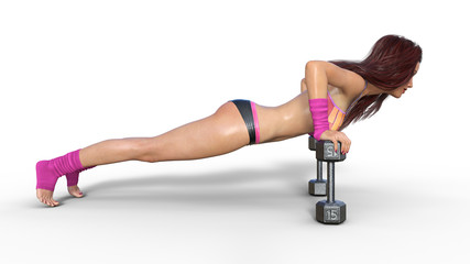 Fitness girl doing push ups on dumbbells, woman exercising isolated on white background, side view