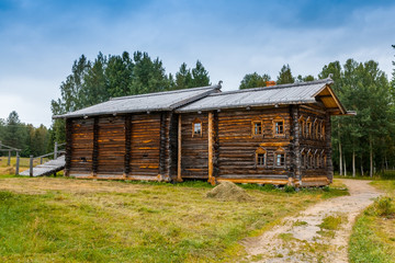 Old north Russian house with two floors