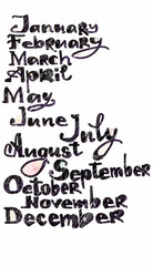 The months of the year pattern, colored hand drawn letters with pixel art model over white, calendar cover.
