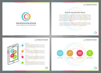 Presentation vector layout for corporate documents, report, business proposal, book cover. Modern presentation design with infographic. Horizontal presentation slides with bars, charts, graphs.