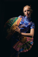 girl with fans