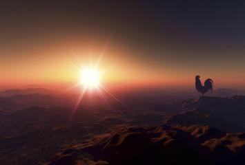 日の出とニワトリ