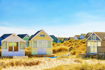 Beach huts with grassland