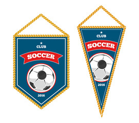 Soccer pennants isolated white