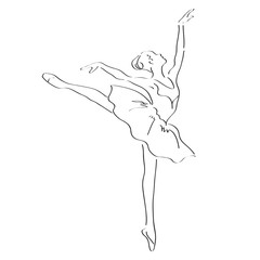 Ballerina point performance dance illustration; motion portrait