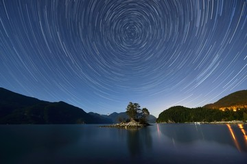 Star Trails over Furry Creek Wall mural