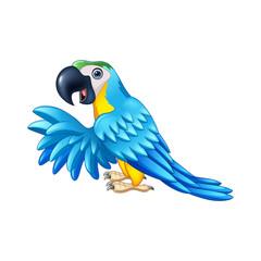 Cartoon blue parrot