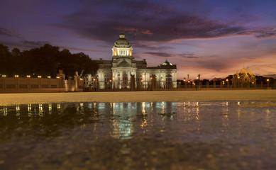 Ananta Samakhom throne hall at twilight beautiful sky