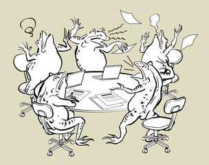 パソコンと蛙-混乱する会議