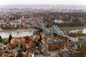 Fototapete - Blaues Wunder in Dresden