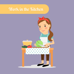 Woman work in the kitchen. Vector illustration