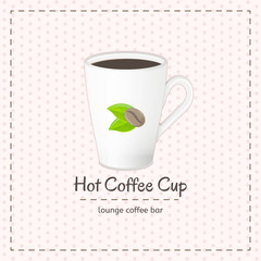 Vector coffee cup for latte close up with logo consisting of coffee beans and leaves on checkered background. File with transparent objects.