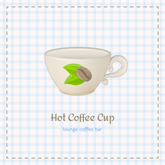 Vector coffee cup for cappuccino close up with logo consisting of coffee beans and leaves on checkered background. File with transparent objects.