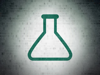 Science concept: Flask on Digital Data Paper background