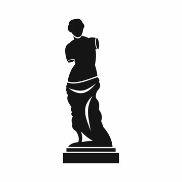 Ancient statue icon in simple style isolated on white background. Art symbol