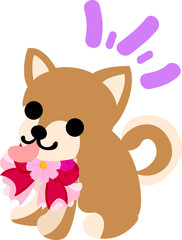 The cute dog and a flower ribbon