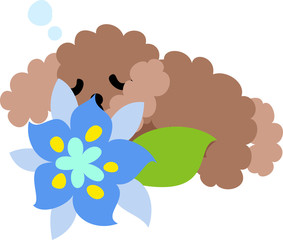 The cute dog and a blue flower