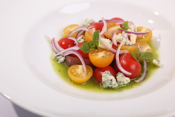 tomato salad and Dor blue cheese
