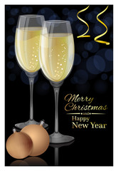 Glasses of champagne on a black background. Merry Christmas and Happy New Year. Vector Christmas card
