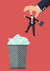 Boss throws a businessman in the trash can