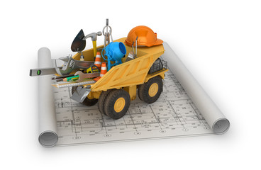 Building concept, construction equipment and truck located in th