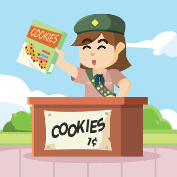 scout girl selling cookies