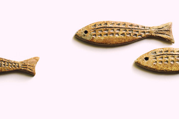 Background of Ceramic Fishes,  Isolated in White Background