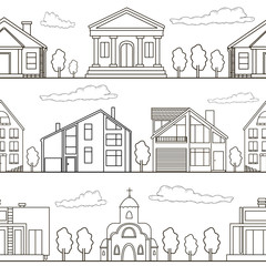 Seamless pattern. Buildings and trees from black lines on the wh