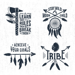 Hand drawn tribal labels set with tomahawk, dream catcher, arrows, and feathers vector illustrations and inspirational lettering.