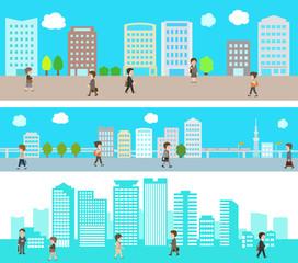 オフィス街とビジネスマンのイラストセット