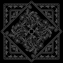 Black and white  bandana print with floral pattern. Square pattern design for pillow, carpet, rug. Design for silk neck scarf, kerchief, hanky