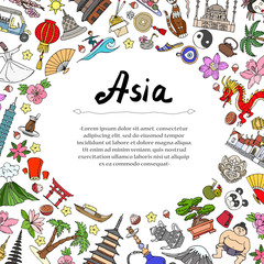 Cute decorative cover with hand drawn colored symbols of Asian countries