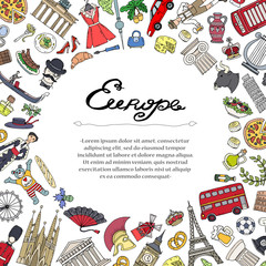 Cute decorative cover with hand drawn colored symbols of European countries