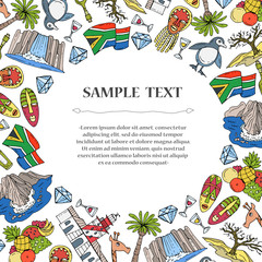 Cute decorative cover with hand drawn colored symbols of South Africa