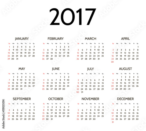 """Vector Simple 2017 year calendar"""" Stock image and royalty-free vector ..."""