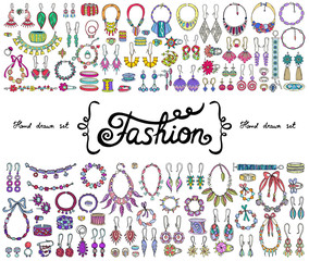 Vector set with hand drawn colored doodles on the  theme of fashion, accessories. Flat illustrations of jewelry. Sketches for use in design