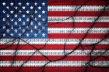 USA flag with binary text and cracks