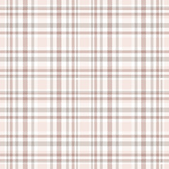 Seamless tartan plaid pattern in shades od ivory, gray, pale reddish brown & white.