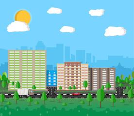 Modern summer City View. Cityscape