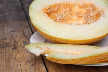 Cut melon on plate